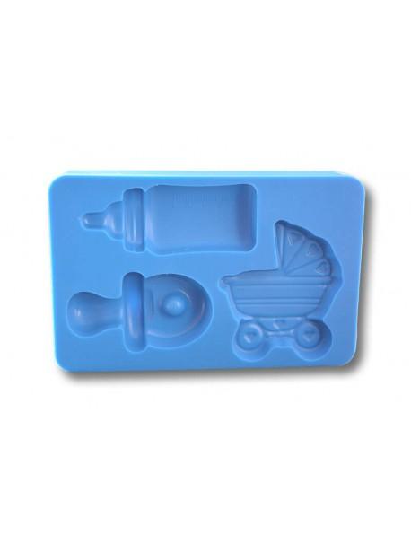 Zestaw smoczek+ wózek + butelka - Forma Silikonowa